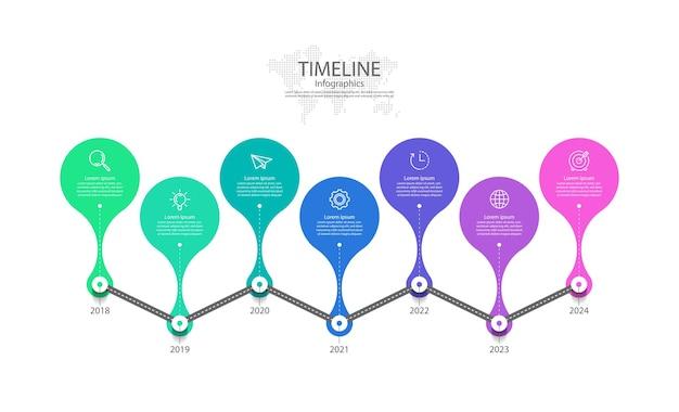 Prezentacja biznesowa oś czasu infografiki z siedmioma krokami