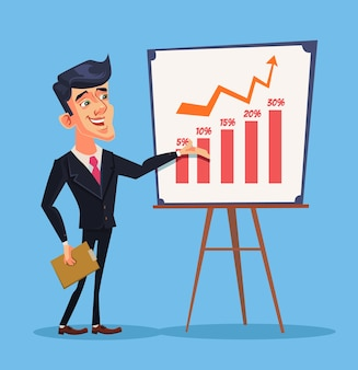 Prezentacja biznesowa. postać odnoszącego sukcesy biznesmena. szkolenie biznesowe