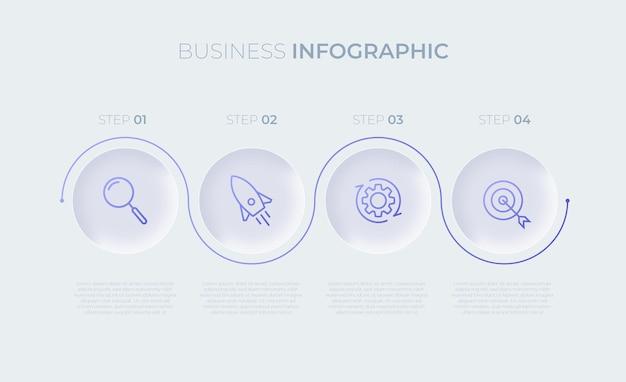 Prezentacja biznesowa szablon infografiki z czterema opcjami premium wektor