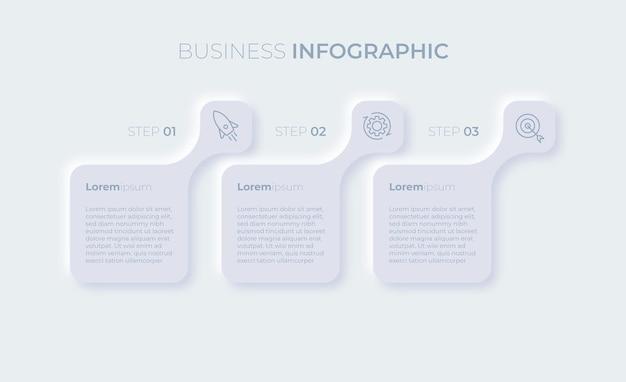 Prezentacja biznesowa szablon infografiki z trzema opcjami premium wektor