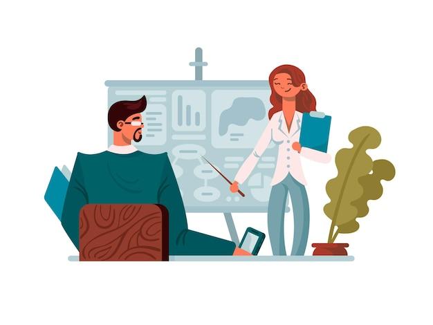 Prezentacja biznesowa w biurze. młoda dziewczyna wskazuje na pokładzie. ilustracji wektorowych