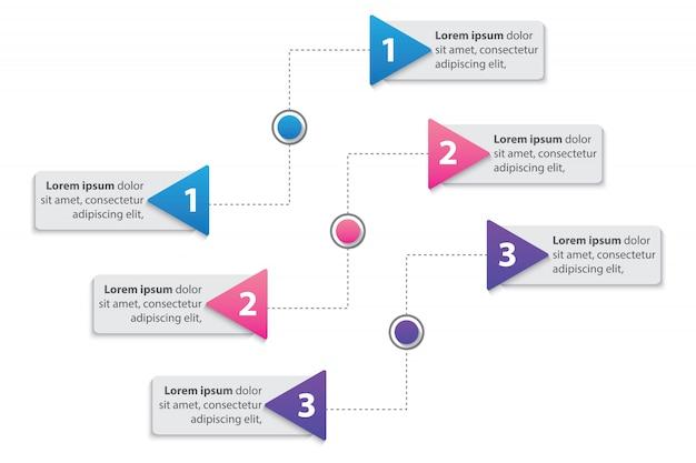 Prezentacja biznesowy infographic szablon z 3 opcjami wektorowymi