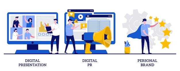 Prezentacja cyfrowa, cyfrowy pr, koncepcja marki osobistej z ilustracjami małych ludzi