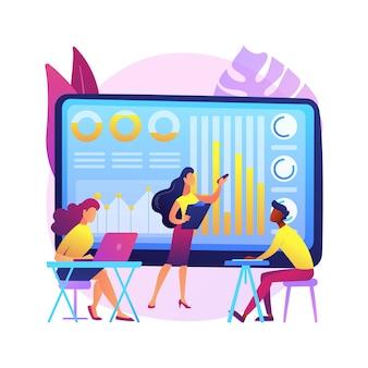 Prezentacja cyfrowa ilustracja koncepcja abstrakcyjna. biurowe spotkanie online, wizualne przedstawienie danych, konferencja biznesowa, edukacja, marketing cyfrowy, wystąpienia publiczne