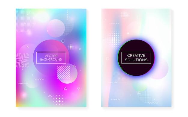 Prezentacja cyfrowa. minimalistyczny wzór. proste kropki. niebieski płyn świetlny. modna ulotka. projekt hipsterów. okrągłe elementy półtonów. koncepcja przestrzeni. fioletowa prezentacja cyfrowa
