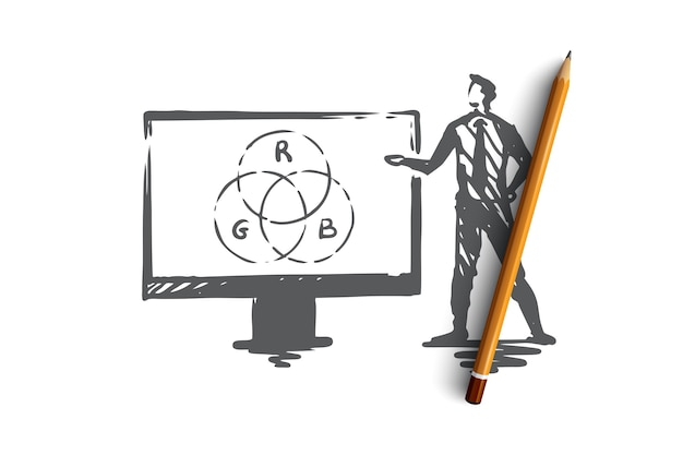 Prezentacja, człowiek, biznes, zarząd, koncepcja głośnika. ręcznie rysowane biznesmen tworzenie szkic koncepcji raportu. ilustracja.