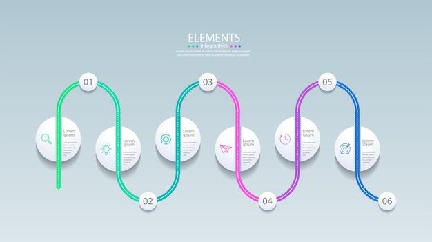 Prezentacja elementów infografiki biznesowej z sześcioma krokami