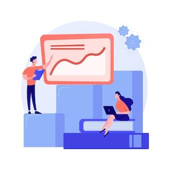 Prezentacja innowacji biznesowych. raport analityczny, wykres statystyczny, forkflow. analitycy i postaci z kreskówek liderów zespołu stojących na rosnącym wykresie