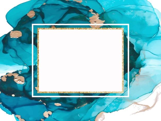 Prezentacja karty marmuru, ulotka, projekt szablonu zaproszenia. streszczenie tło niebieski i złoty. ilustracja wektorowa