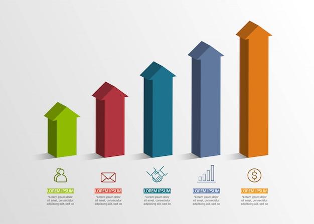 Prezentacja koncepcja kreatywna tom 3d infografika z 5 opcjami v