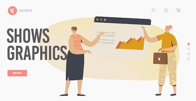 Prezentacja konferencji, spotkania lub seminarium szablon landing page. charakter trenera biznesowego udziel konsultacji finansowej z analizą danych i grafiką statystyczną. ilustracja wektorowa kreskówka ludzie