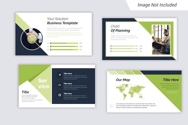 Prezentacja korporacyjna w kolorze zielonym i czarnym slajdy design