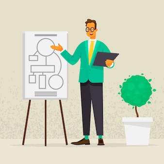 Prezentacja lub szkolenie. przemówienie na pokładzie biznesmena