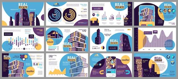Prezentacja nieruchomości przedstawia szablony slajdów z elementów infografiki