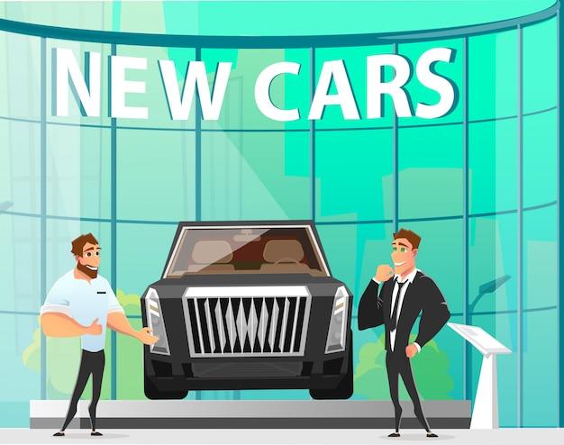 Prezentacja nowych samochodów w cartoon modern showroom