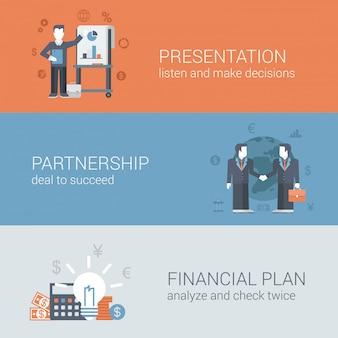 Prezentacja partnerstwa transakcji biznesmen uścisk dłoni, aby odnieść sukces planu finansowego koncepcje płaska konstrukcja ilustracje zestaw.