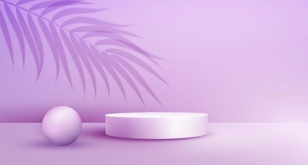 Prezentacja produktów na podium z nakładką liści palmowych na pastelowym tle