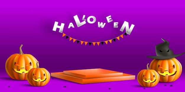 Prezentacja sceniczna z dyniowym kapeluszem wiedźmy w halloweenowy dzień na promocję produktu lub baner