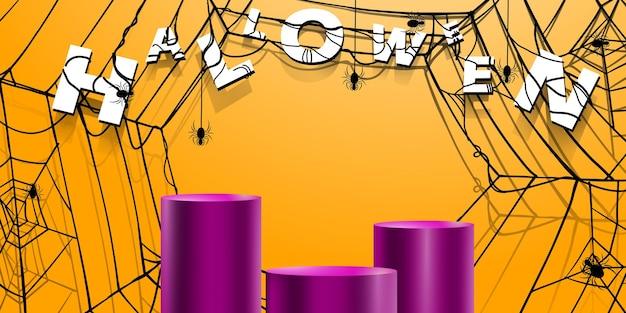 Prezentacja sceniczna z pajęczyną w tle halloween na promocję produktu lub rabat