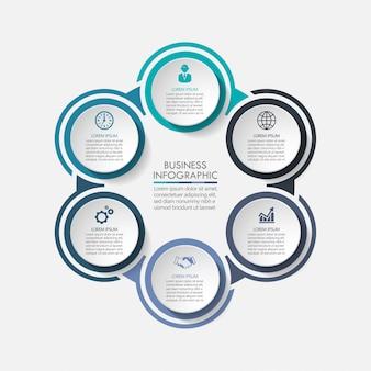 Prezentacja szablonu infografikę koło biznesu