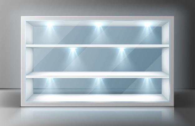 Prezentacja ze szklaną ścianą, półkami i reflektorami