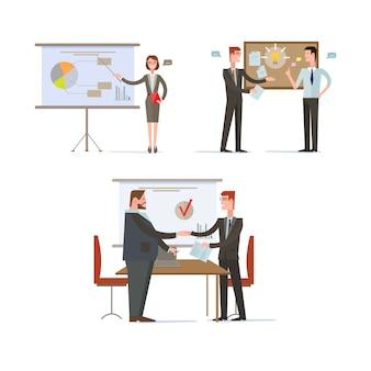 Prezentacje i wykresy biznesmen. zestaw