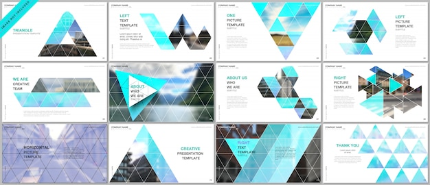 Prezentacje obejmują szablony portfolio z trójkątnym wzorem