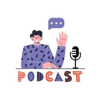 Prezenter radiowy. hosting mediów. męski podcaster z napisem podcast. koncepcja internetowego radia internetowego.