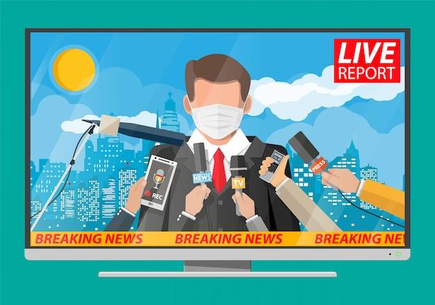 Prezenter telewizyjny czyta wiadomości ze świata