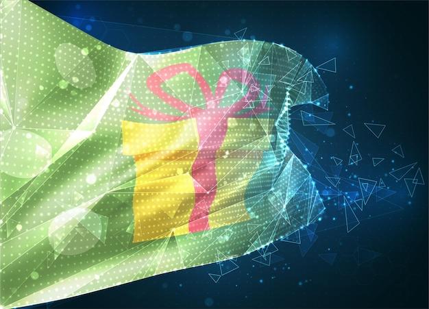 Prezentowa flaga wektora, wirtualny abstrakcyjny obiekt 3d z trójkątnych wielokątów na niebieskim tle