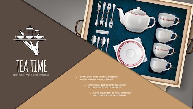 Prezentowy zestaw do herbaty w kompozycjach z porcelanowymi filiżankami, talerzyk na herbatę, srebrne widelce i łyżeczki w realistycznym stylu