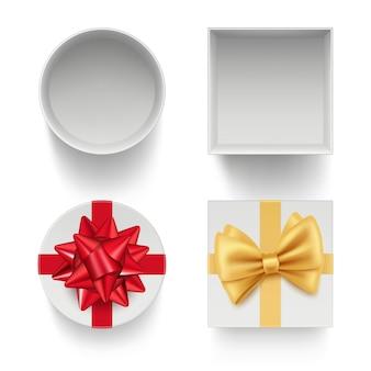Prezentuj pudełka z kokardkami. pakiety celebracja prezenty z kolorowymi wstążkami czerwony i złoty szablon na białym tle