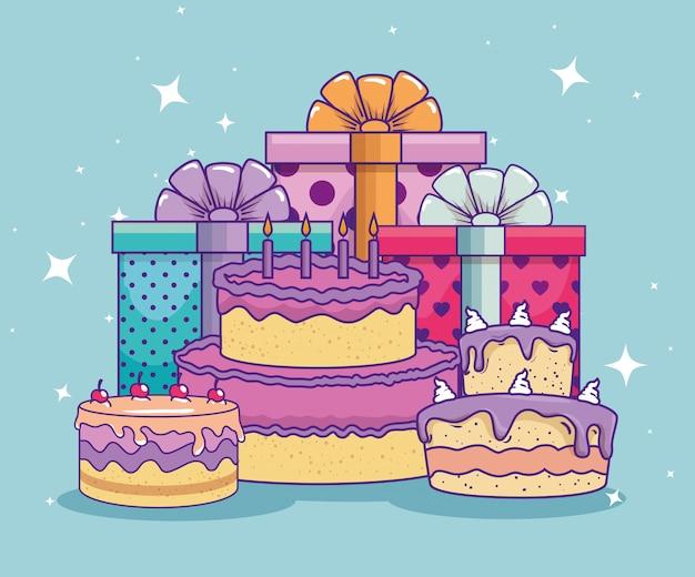 Prezentuje prezenty z kokardką i ciastem na urodziny