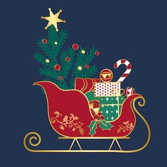 Prezenty świąteczne na wektor sledge