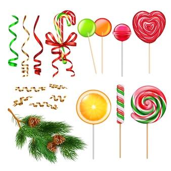 Prezenty świąteczne prezentują akcesoria realistyczny zestaw z taśmą serpentynową ozdoby choinkowe cukierki karmelowe lizaki ilustracja