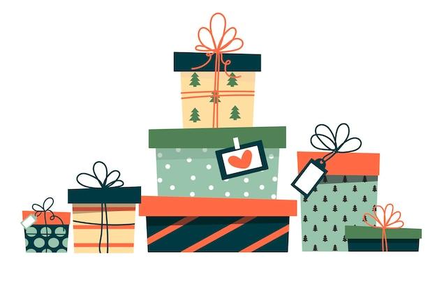 Prezenty świąteczne. słodkie proste pudełka. styl kreskówki.