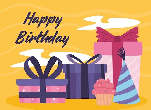 Prezenty z okazji urodzin babeczka i kapelusz