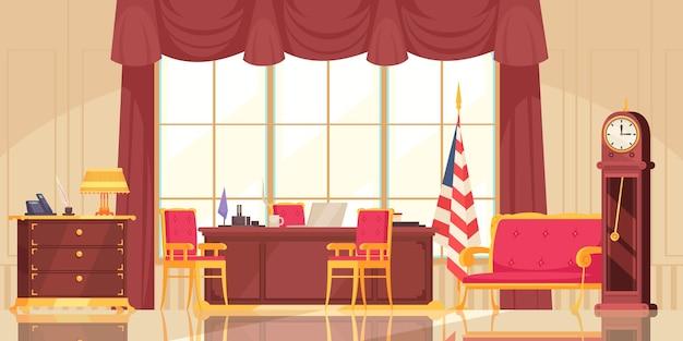 Prezydencka ilustracja wnętrza płaskiego miejsca pracy
