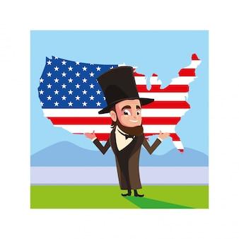 Prezydent abraham lincoln z mapą stanów zjednoczonych