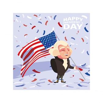 Prezydent george washington z flagą usa, dzień prezydenta karty