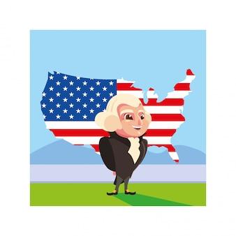 Prezydent george washington z mapą stanów zjednoczonych