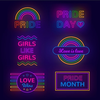 Pride day neon sign set theme