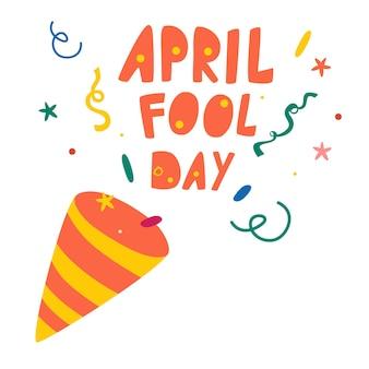 Prima aprilis. napis napis i pukawki z konfetti. ilustracja wektorowa celebracja dla swojego projektu.
