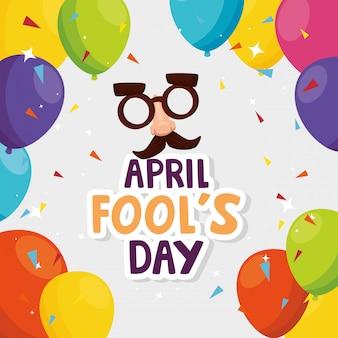Prima aprilis tło z szaloną maską, balony i konfetti
