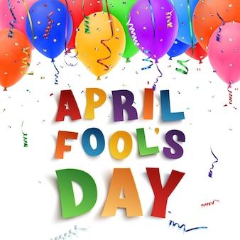 Prima aprilis tło z wstążkami, balony i konfetti na białym tle. ilustracja.