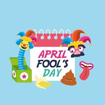 Prima aprilisowy kalendarz między komiksową twarzą a emoji. ilustracja