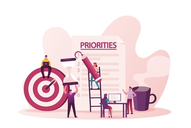 Priorytety uporządkuj ilustrację. drobni mężczyźni i kobiety umieszczają zadania na papierze w celu efektywnego codziennego planowania, harmonogramu pracy