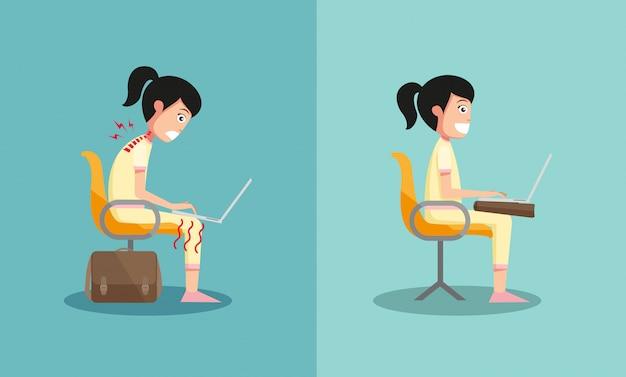 Próbka faceta siedzącego w niewłaściwy i właściwy sposób