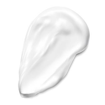 Próbka tekstury kremu do twarzy. próbka wymazu kosmetycznego. białe pociągnięcie pędzlem żelu kosmetycznego lub kremowego podkładu. delikatne mleczne plamy zawijają element glinki lub korektora do twarzy. realistyczna ilustracja graficzna