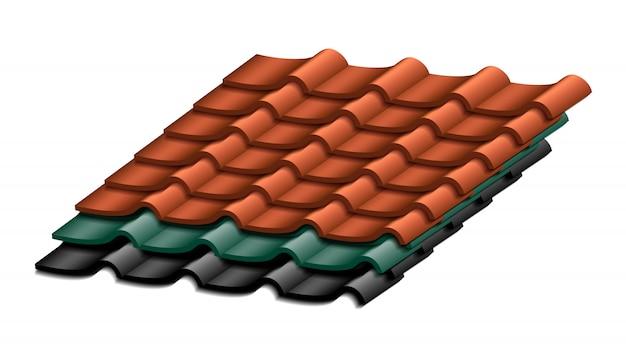 Próbki dachów pokrytych dachówką. na białym tle